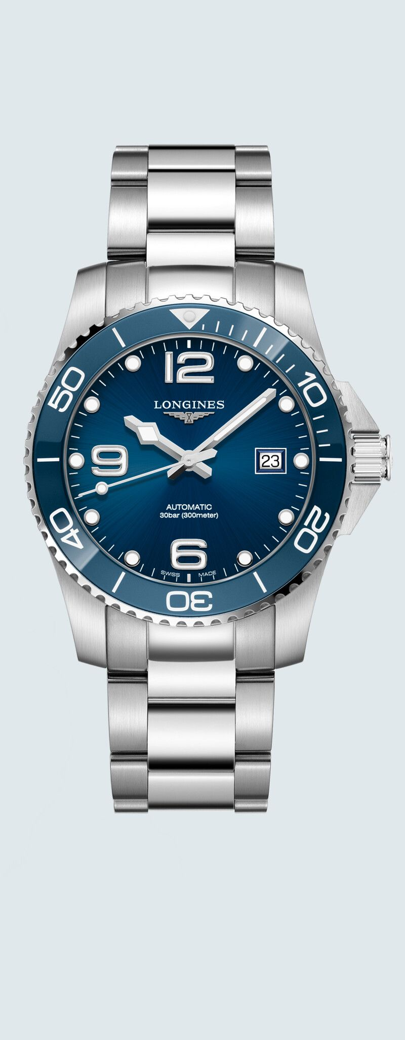 41.00 mm Stainless steel and ceramic case with Sunray blue dial and Stainless steel strap - case zo