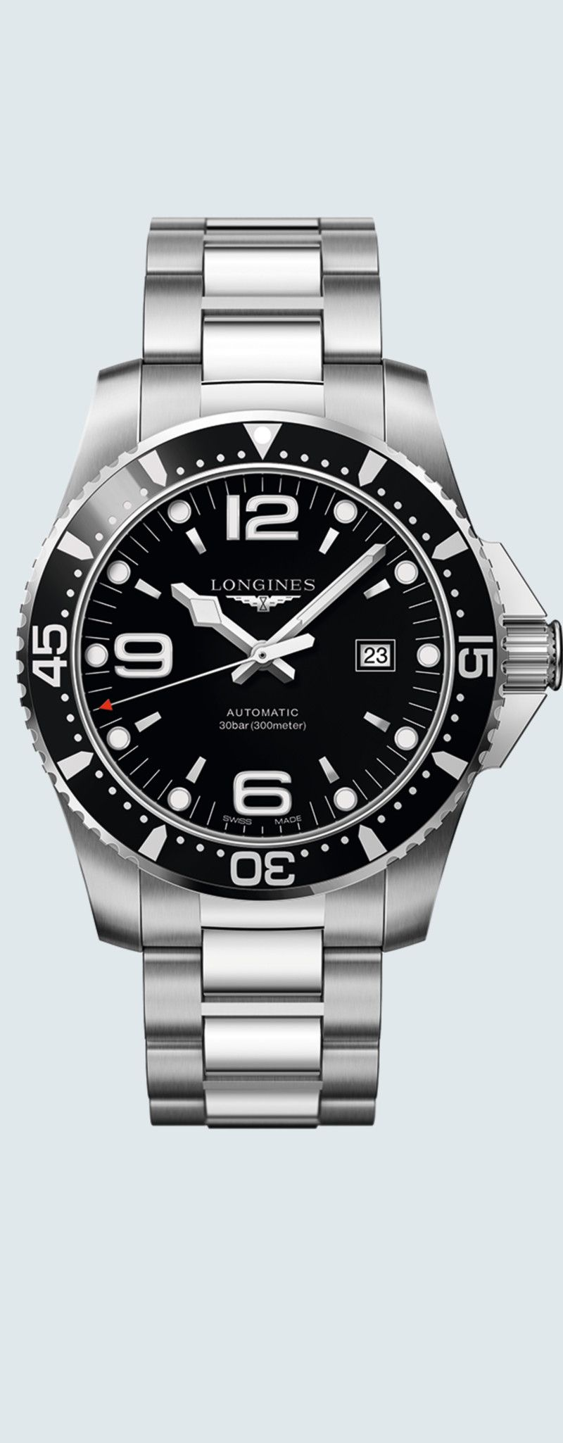 44.00 mm Stainless steel case with Sunray black dial and Stainless steel strap - case zoom view
