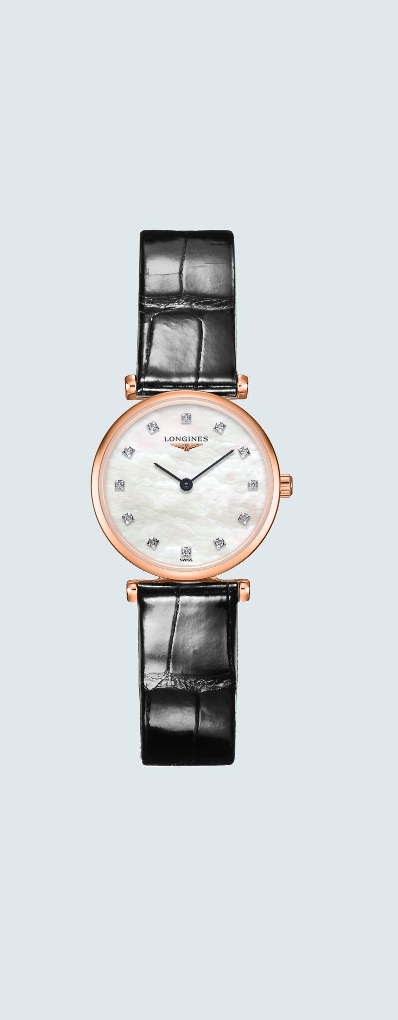 24.00 mm PVD rose case with Nacre blanche dial and Bracelet Alligator Noir strap - case zoom view
