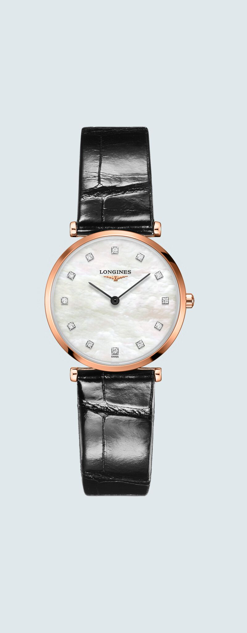 29.00 mm PVD rose case with Nacre blanche dial and Bracelet Alligator Noir strap - case zoom view