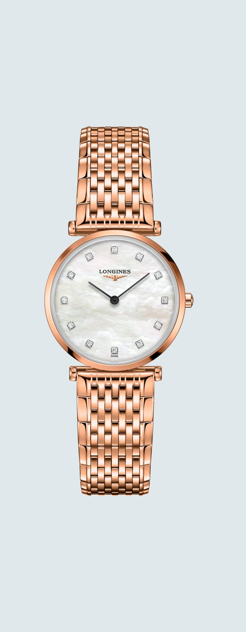 29.00 mm PVD rose case with Nacre blanche dial and Revêtement PVD rouge strap - case zoom view