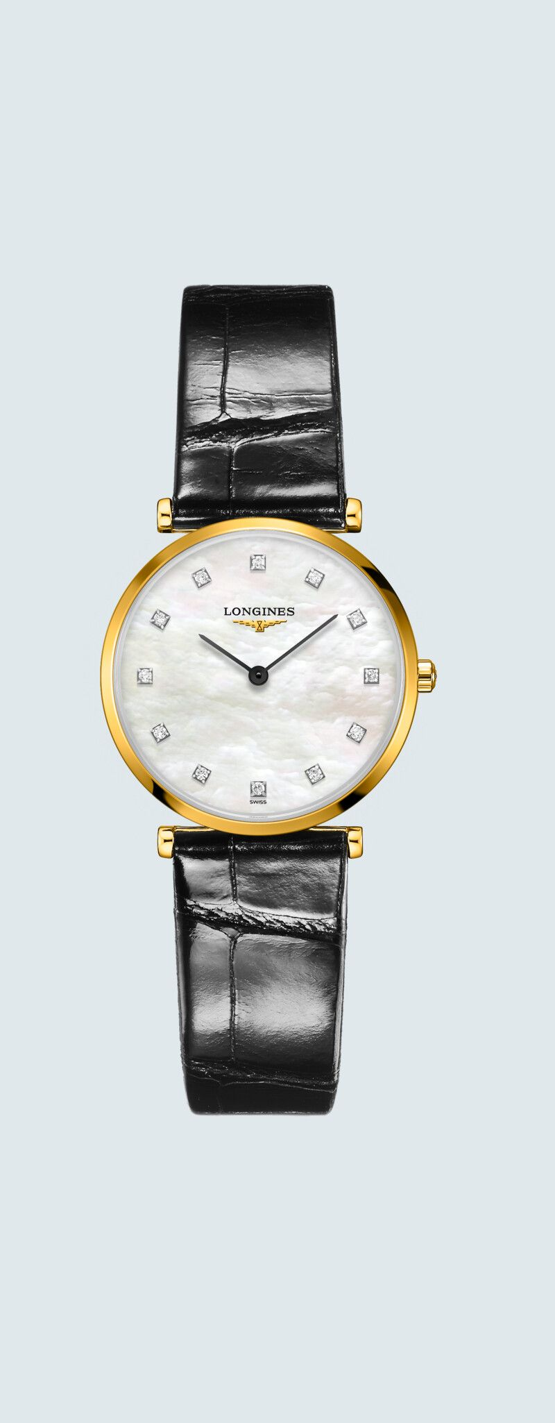 29.00 mm PVD jaune case with Nacre blanche dial and Bracelet Alligator Noir strap - case zoom view