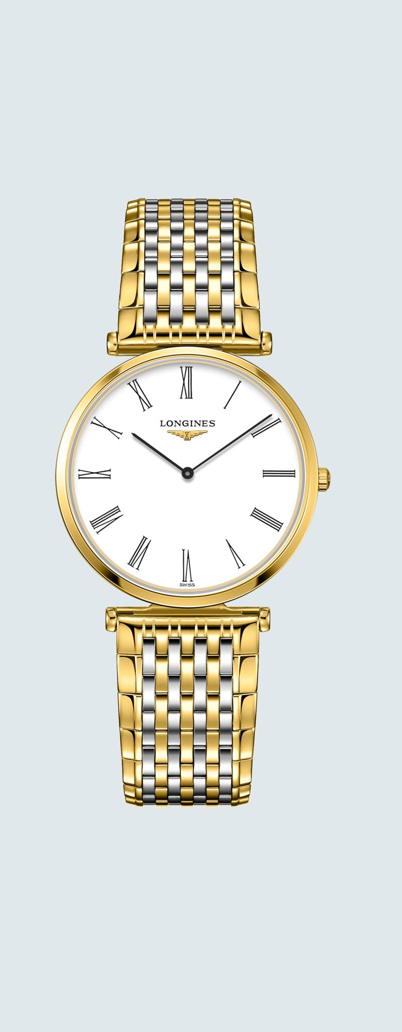 33.00 mm Yellow PVD coating case with White dial and Stainless steel and yellow PVD coating strap -