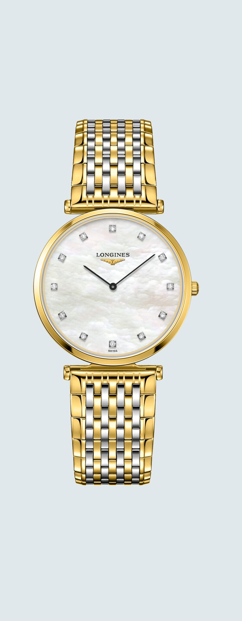 33.00 mm Yellow PVD coating case with White mother-of-pearl dial and Stainless steel and yellow PVD