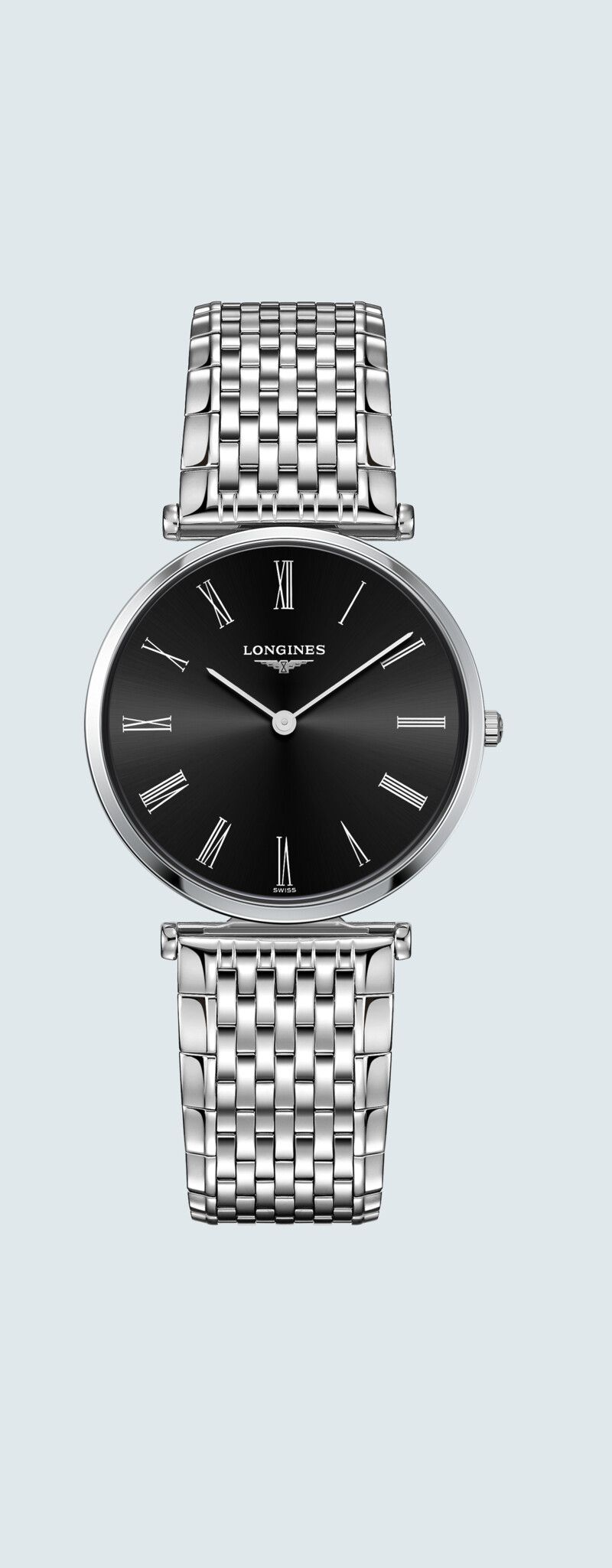 33.00 mm Stainless steel case with Sunray black dial and Stainless steel strap - case zoom view