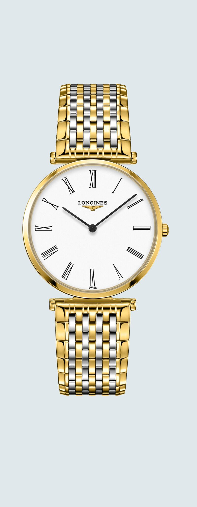36.00 mm Yellow PVD coating case with White dial and Stainless steel and yellow PVD coating strap -