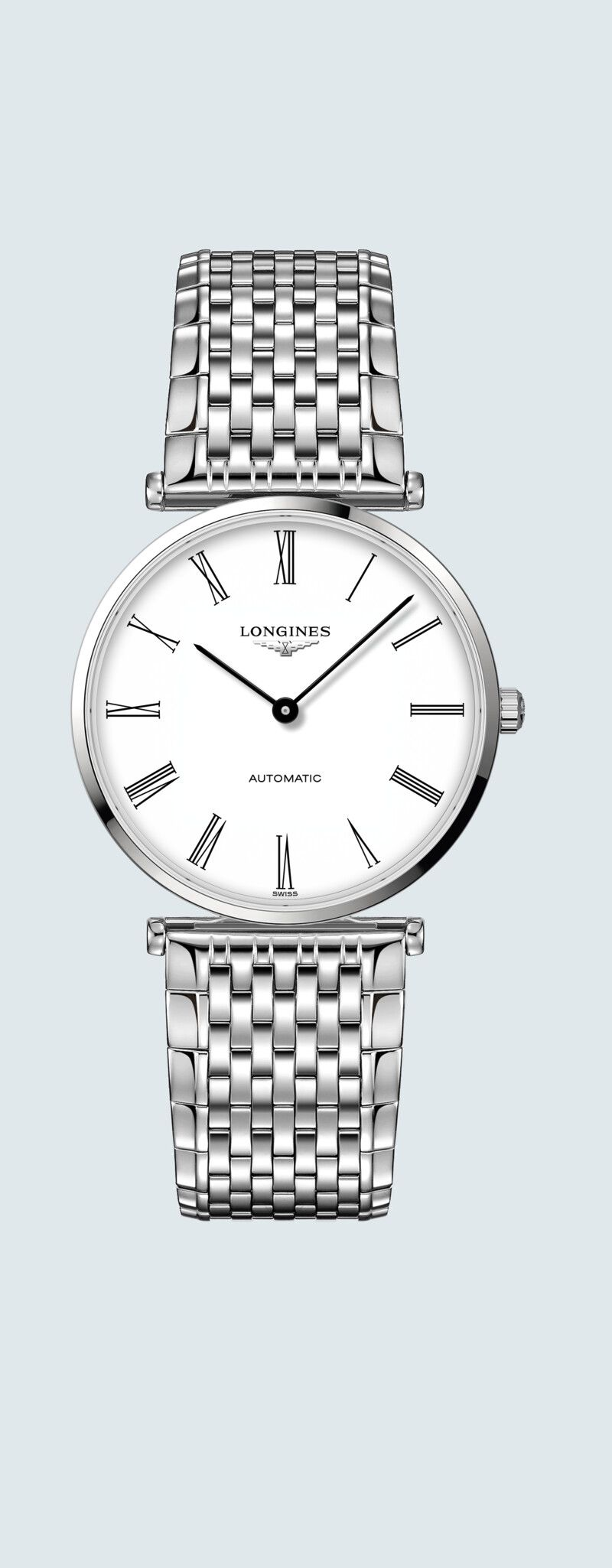 36.00 mm Stainless steel case with White dial and Stainless steel strap - case zoom view