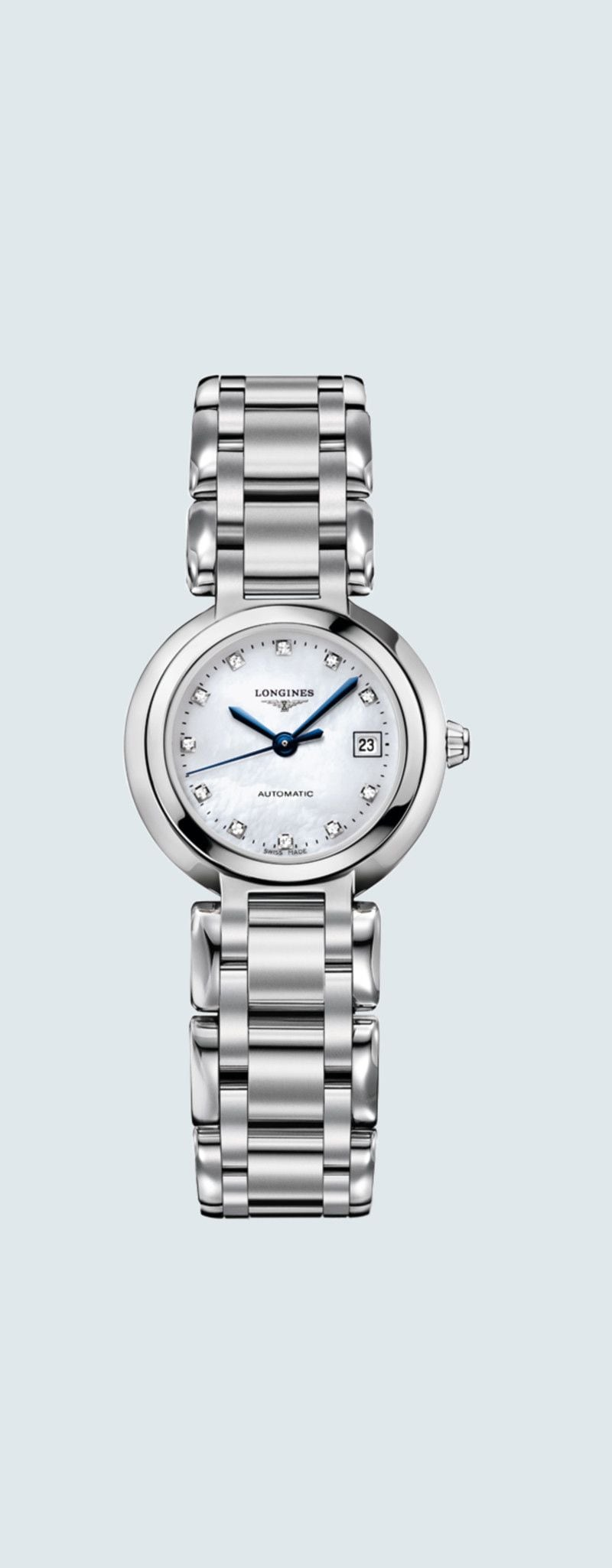 26.50 mm Stainless steel case with White mother-of-pearl dial and Stainless steel strap - case zoom