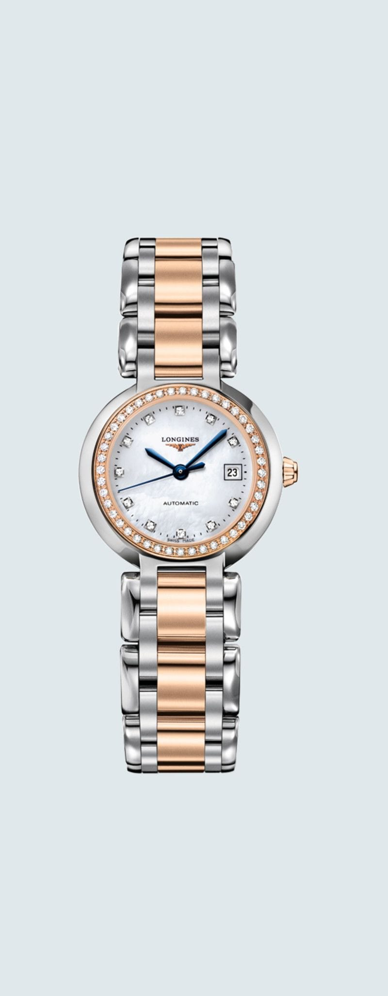 26.50 mm Stainless steel and 18 karat pink gold case with White mother-of-pearl dial and Stainless