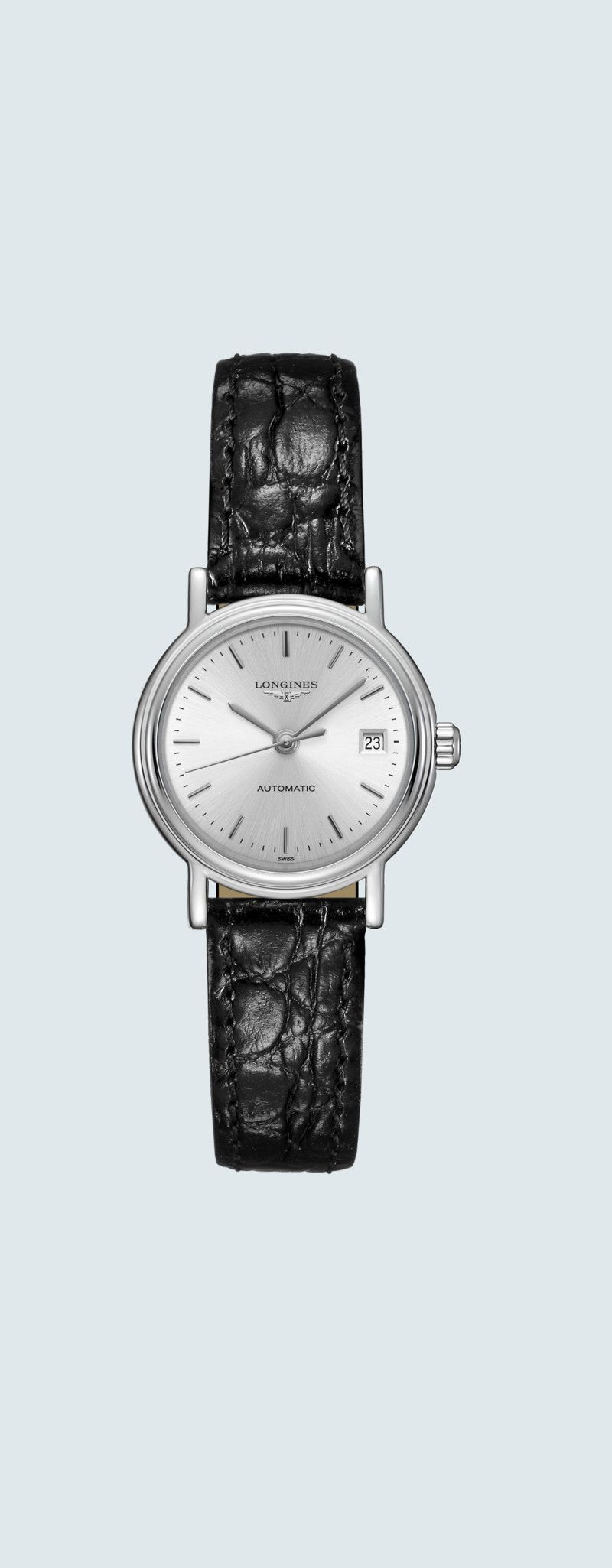 25.50 mm Stainless steel case with Sunray silver dial and Leather strap Black strap - case zoom vie