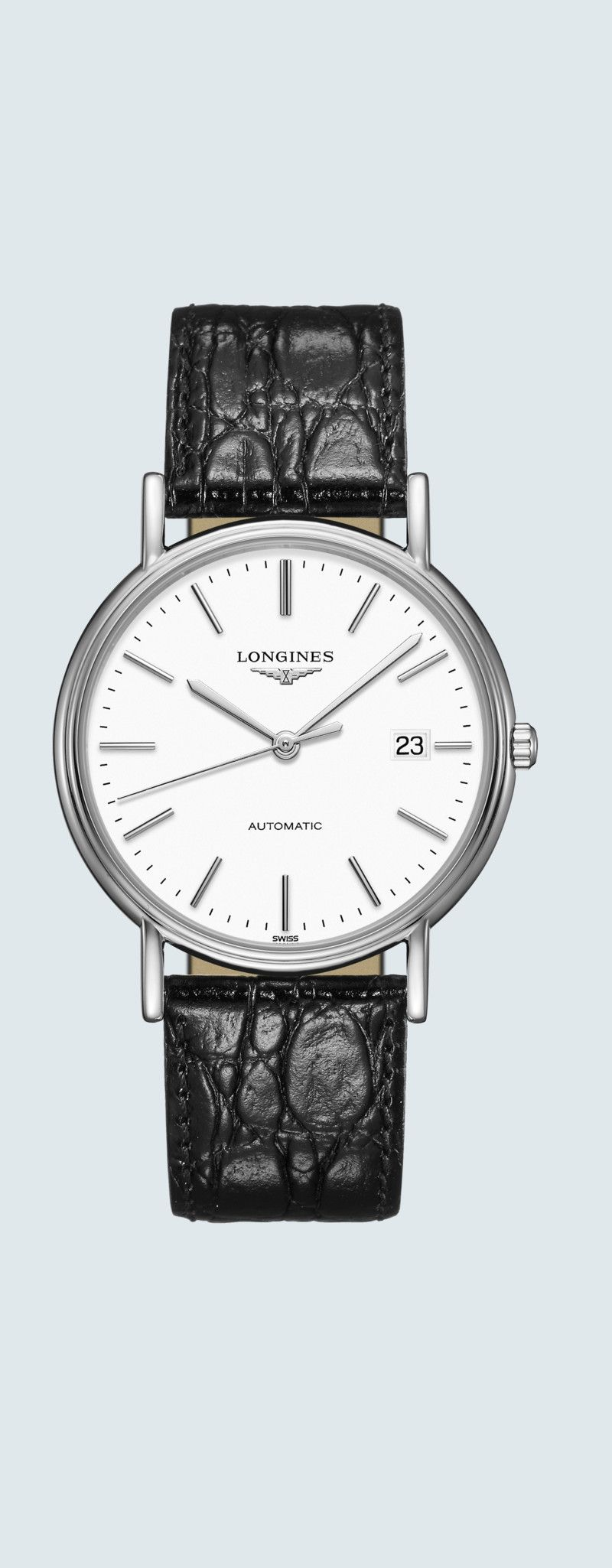 38.50 mm Stainless steel case with White matt dial and Leather strap Black strap - case zoom view
