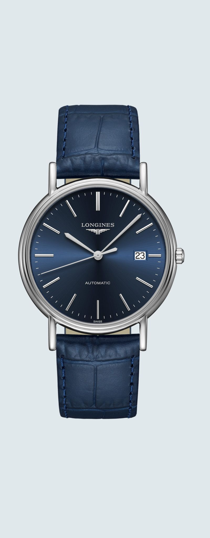38.50 mm Acier case with Bleu soleillé dial and Bracelet cuir Bleu strap - case zoom view