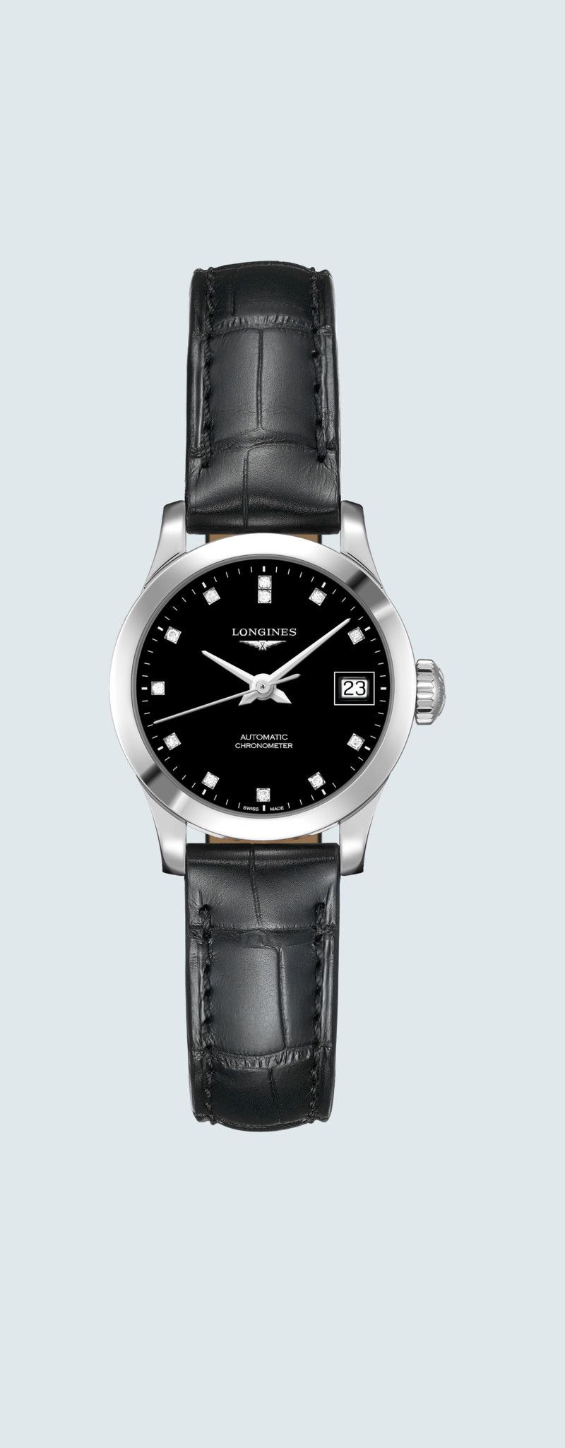 26.00 mm Stainless steel case with Black lacquered polished dial and Alligator strap Black strap -