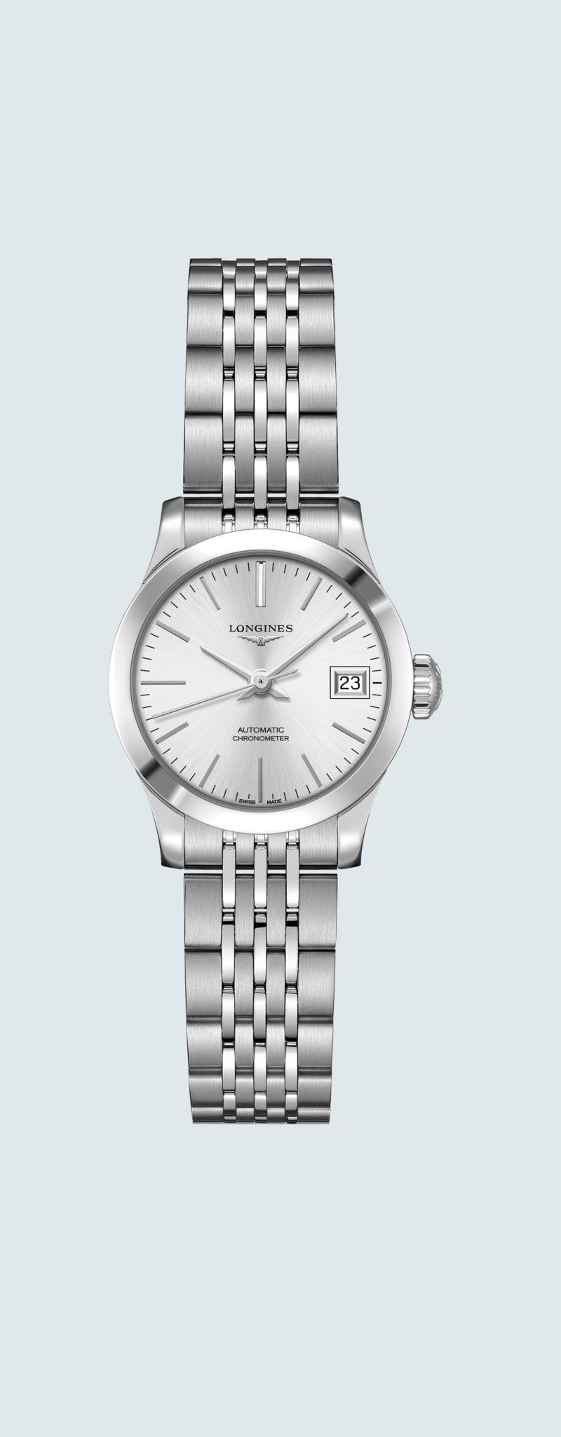 26.00 mm Acciaio inossidabile case with Argento a raggi di sole dial and Acciaio inossidabile strap