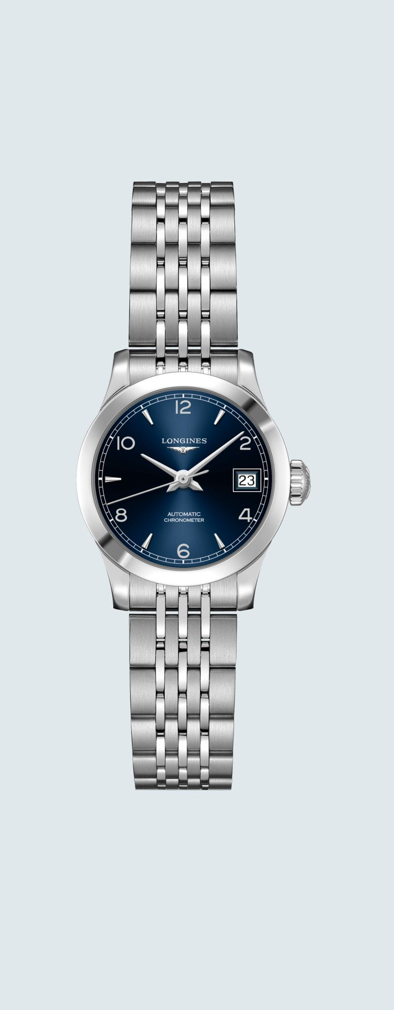 26.00 mm Stainless steel case with Sunray blue dial and Stainless steel strap - case zoom view