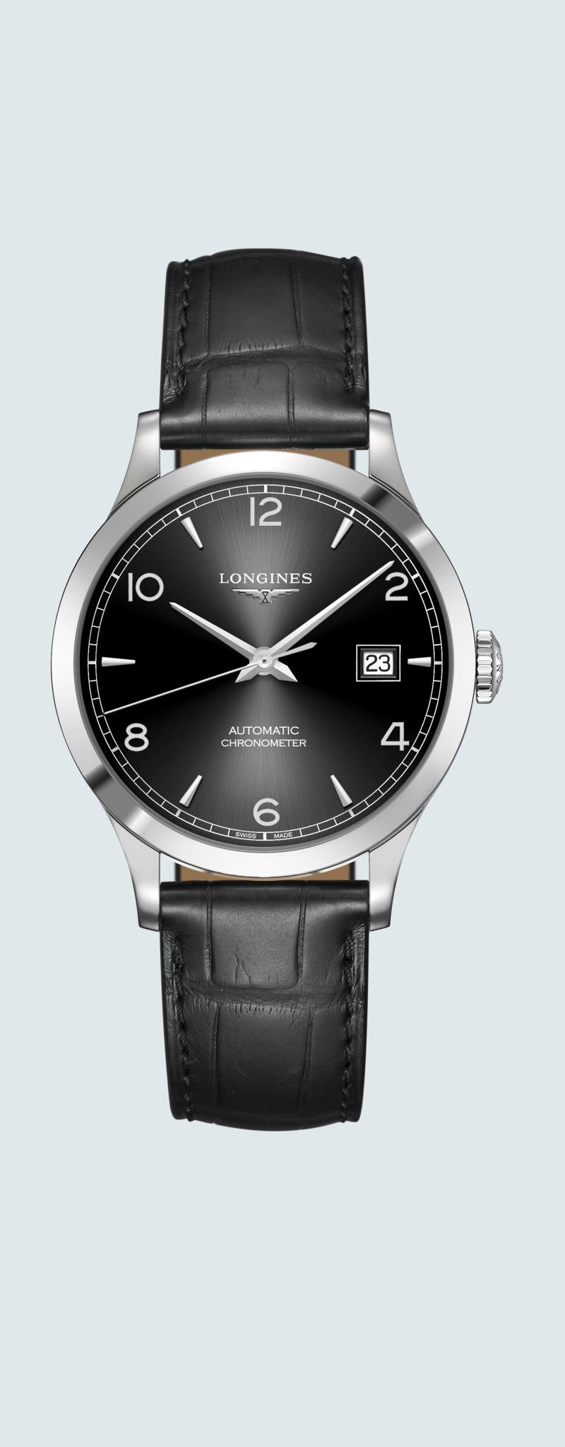 38.50 mm Stainless steel case with Sunray black dial and Alligator strap Black strap - case zoom vi