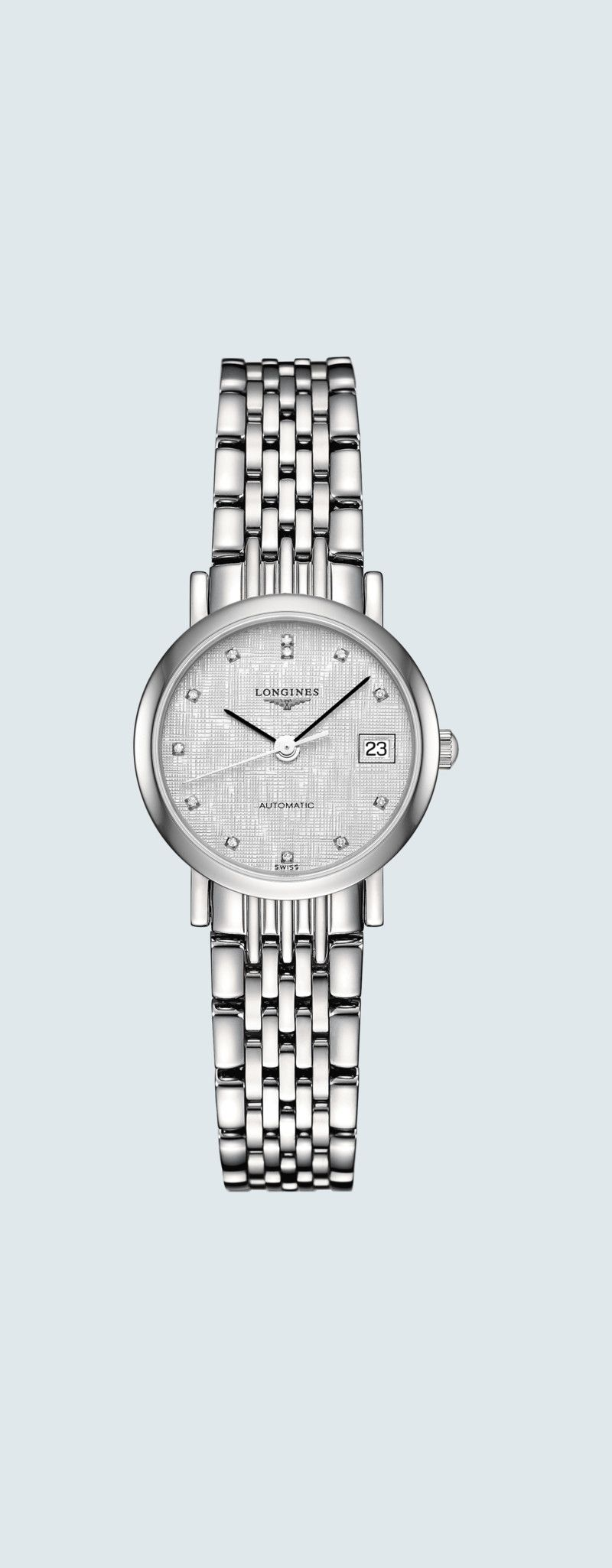 25.50 mm Stainless steel case with Striped Silver dial and Stainless steel strap - case zoom view