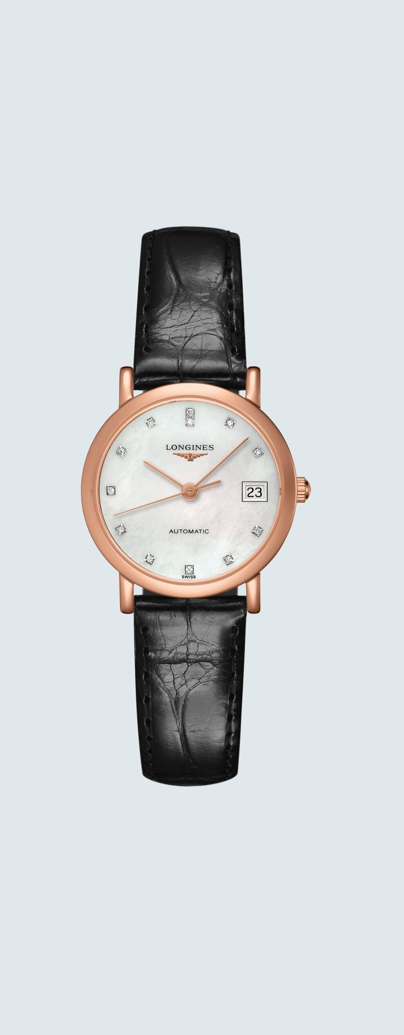 27.20 mm Or rose 18 carats case with Nacre blanche dial and Bracelet Alligator Noir strap - case zo