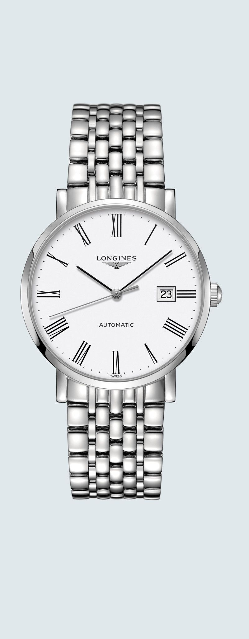 39.00 mm Stainless steel case with White matt dial and Stainless steel strap - case zoom view