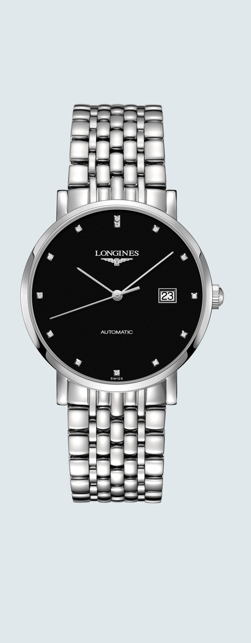 39.00 mm Stainless steel case with Sunray black dial and Stainless steel strap - case zoom view