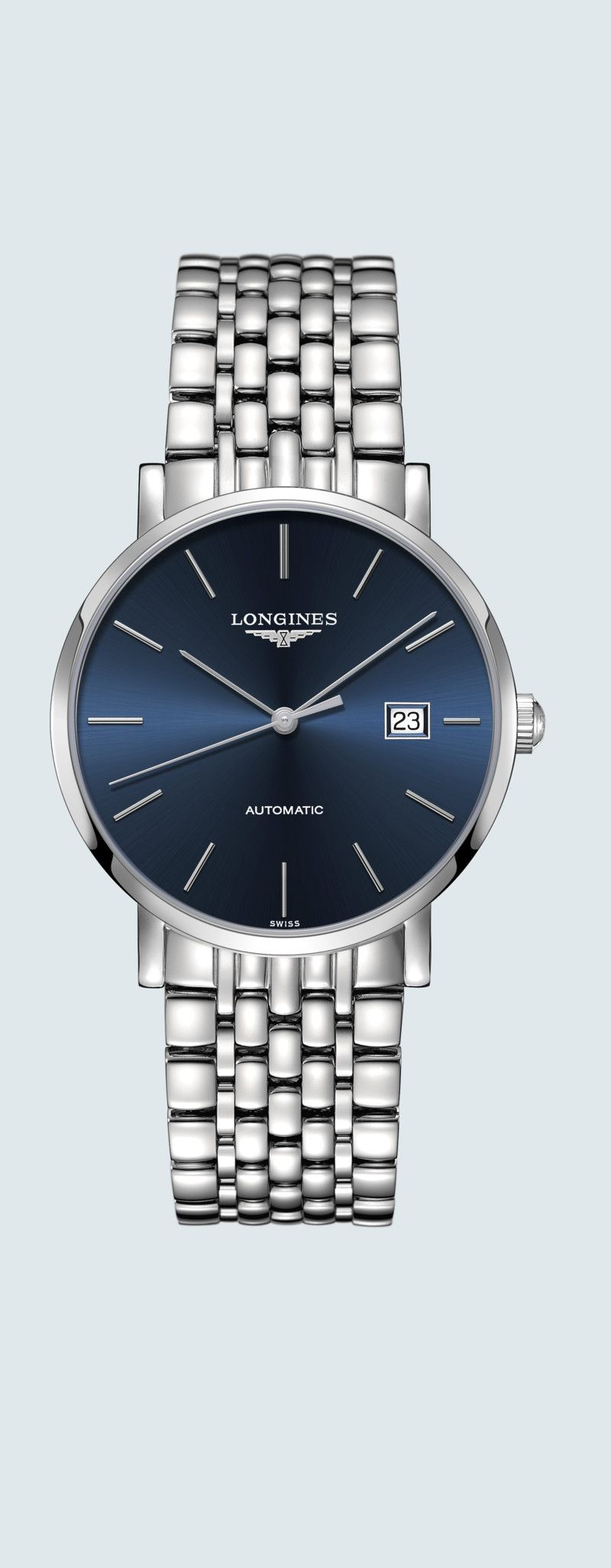 39.00 mm Stainless steel case with Sunray blue dial and Stainless steel strap - case zoom view