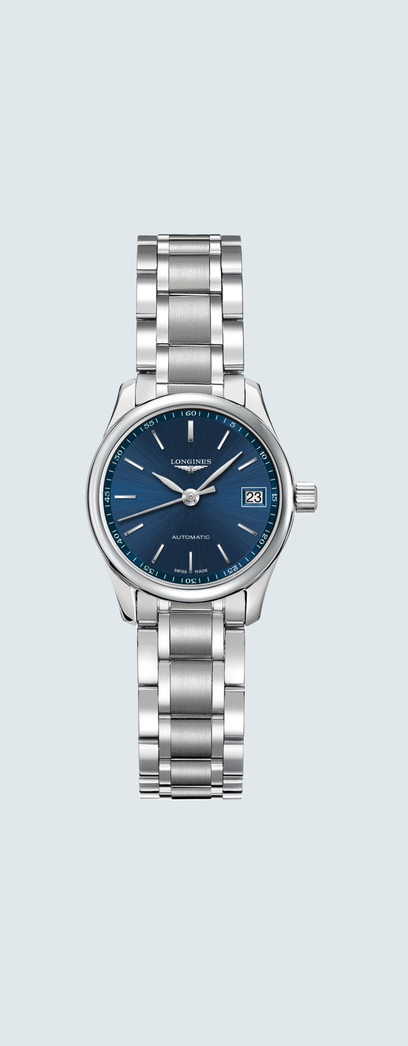 25.50 mm Stainless steel case with Sunray blue dial and Stainless steel strap - case zoom view