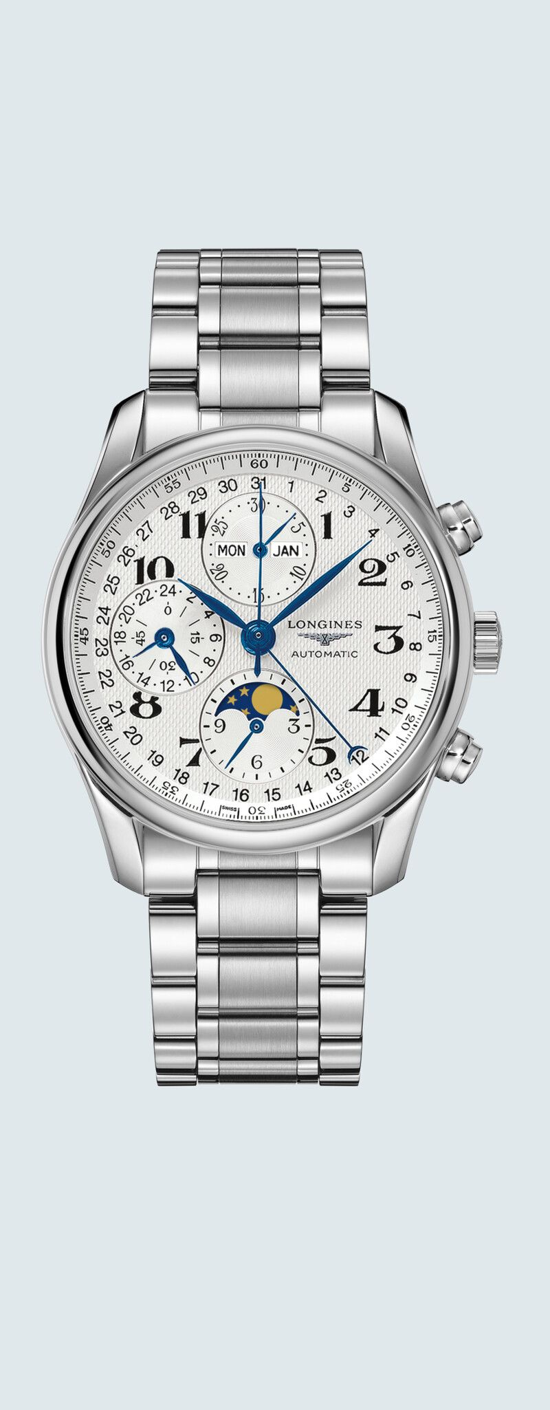 """40.00 mm Stainless steel case with Silver """"barleycorn"""" dial and Stainless steel strap - case zoom v"""