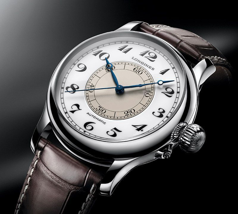 47.50 mm Stainless steel case with White lacquered polished dial and Alligator strap Brown strap