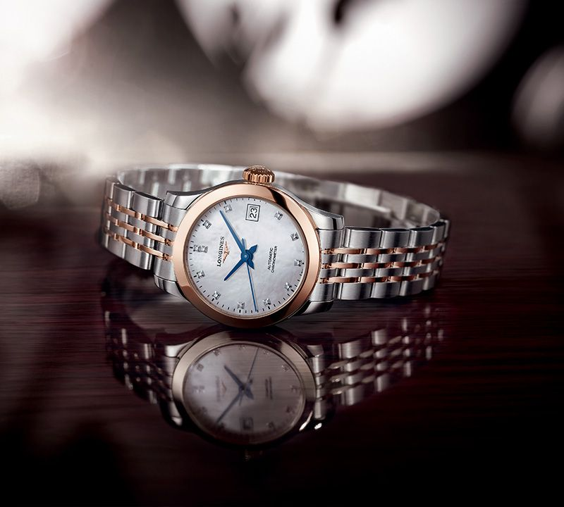 30.00 mm Acier et or rose 18 carats case with Nacre blanche dial and Bracelet Alligator Brun strap
