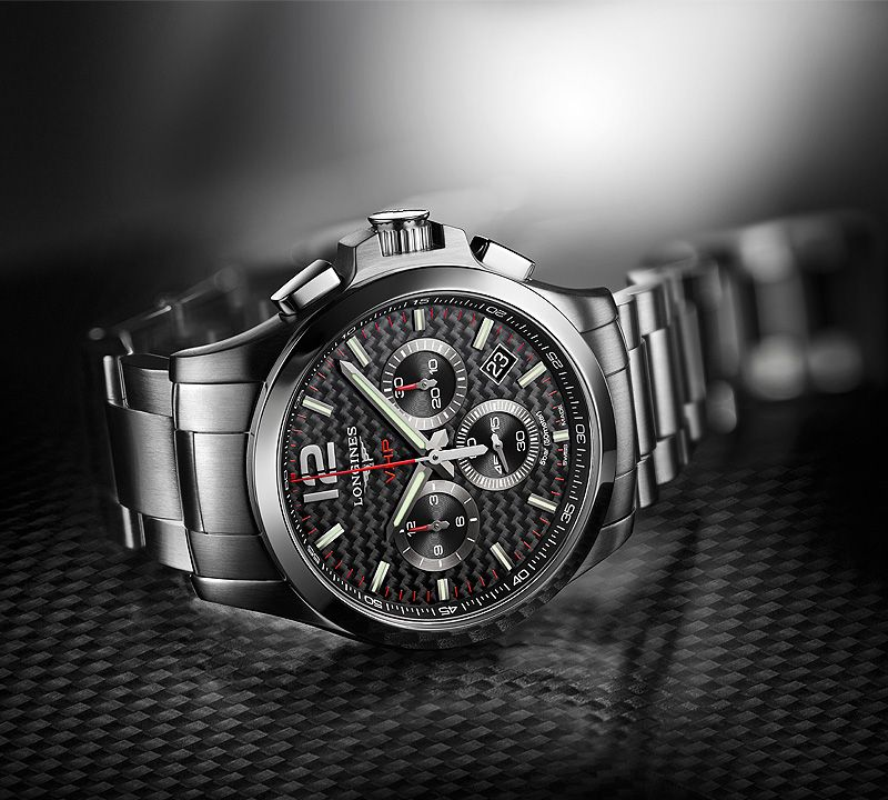 42.00 mm Stainless steel case with Black carbon dial and Stainless steel strap