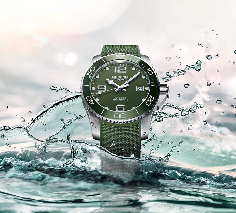 43.00 mm Stainless steel and ceramic case with Green matt dial and Rubber strap Green strap