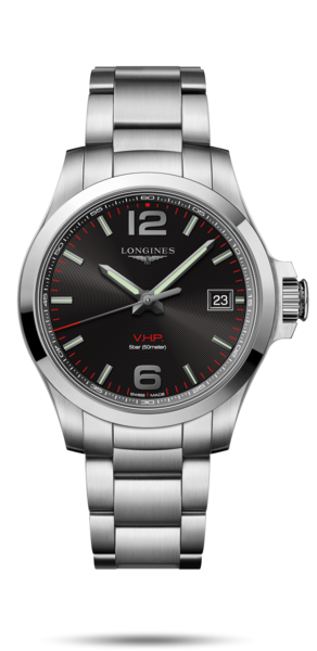41.00 mm Stainless steel case with Black carved dial and Stainless steel strap - front view