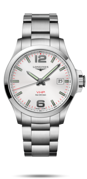 43.00 mm Stainless steel case with Silver carved dial and Stainless steel strap - front view
