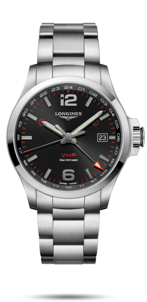 43.00 mm Stainless steel case with Black carved dial and Stainless steel strap - front view