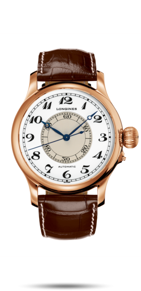 47.50 mm 18 karat pink gold case with White lacquered polished dial and Alligator strap Brown strap