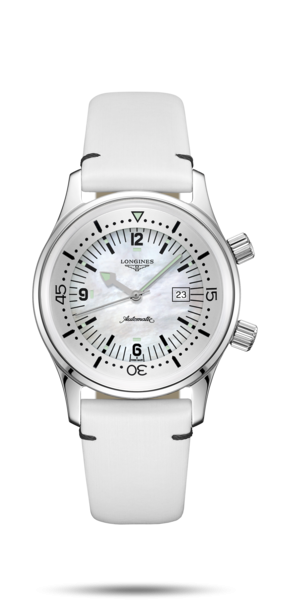 36.00 mm Stainless steel case with White mother-of-pearl dial and Leather strap White strap - front