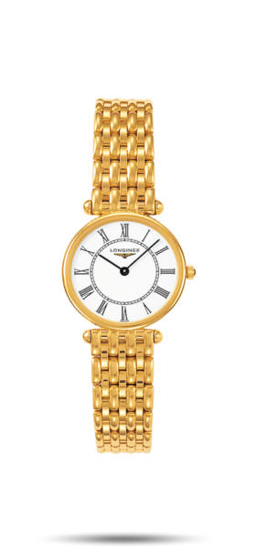 23.00 mm Or jaune 18 carats case with Blanc mat dial and Or jaune 18 carats strap - front view