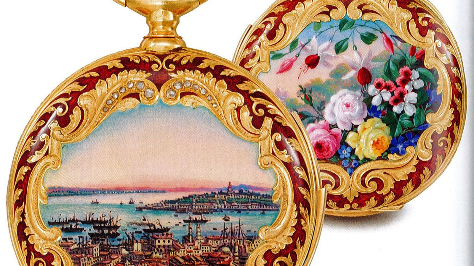 Enameled pocket watch decorated with delicate patterns