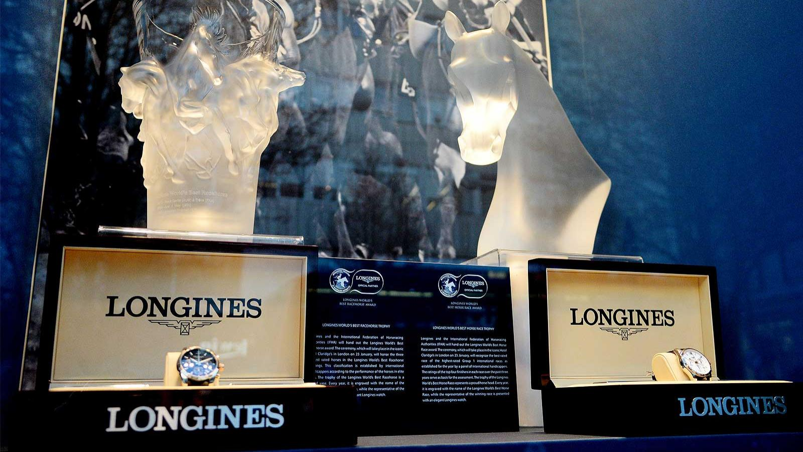 The trophies; the Longines World's Best Racehorse; Longines World's Best Horse Race; Longines Boutique; Oxford Street