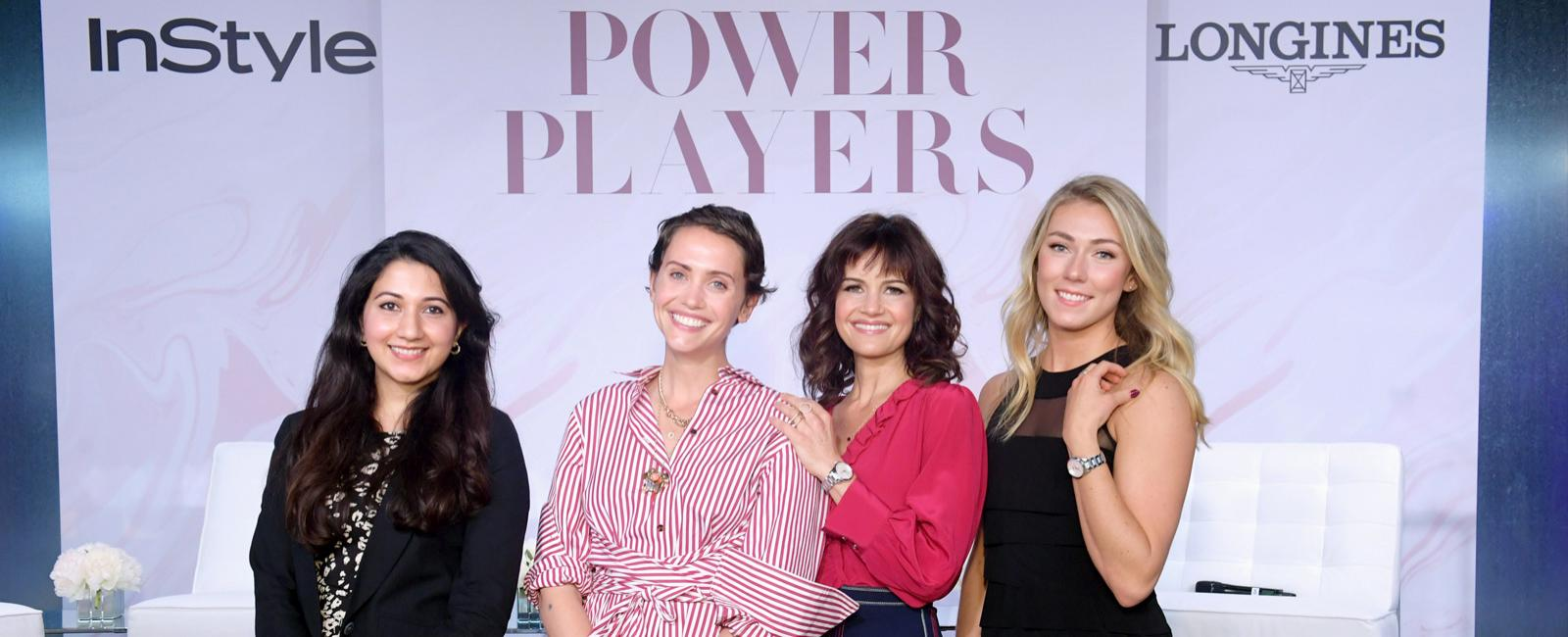 (L-R) Shyla Raghav, Laurel Pantin, Carla Gugino and Mikaela Shiffrin attend the InStyle Talks: Power Players presented by Longines & launch of Longines' Conquest Classic Collection on June 05, 2019 in New York City.