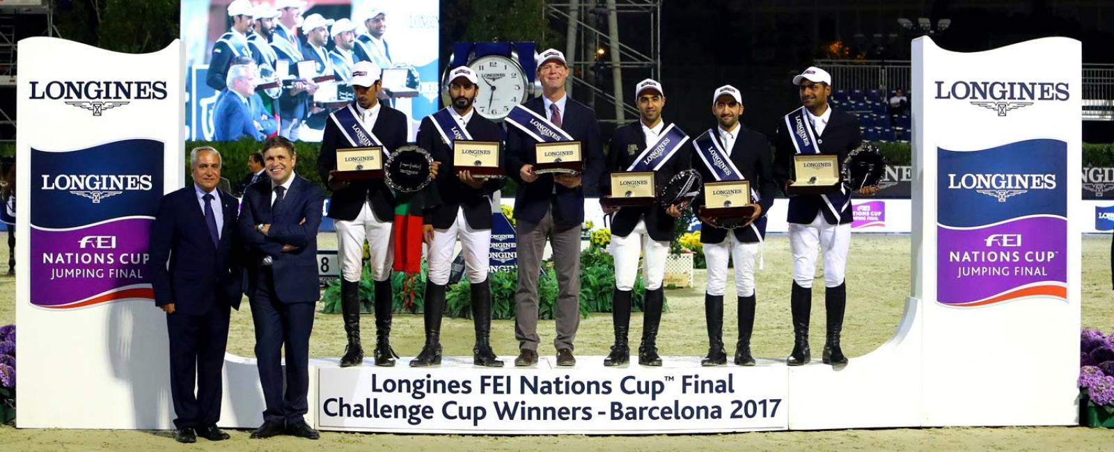 Team UAE earned first place at the Longines Challenge Cup