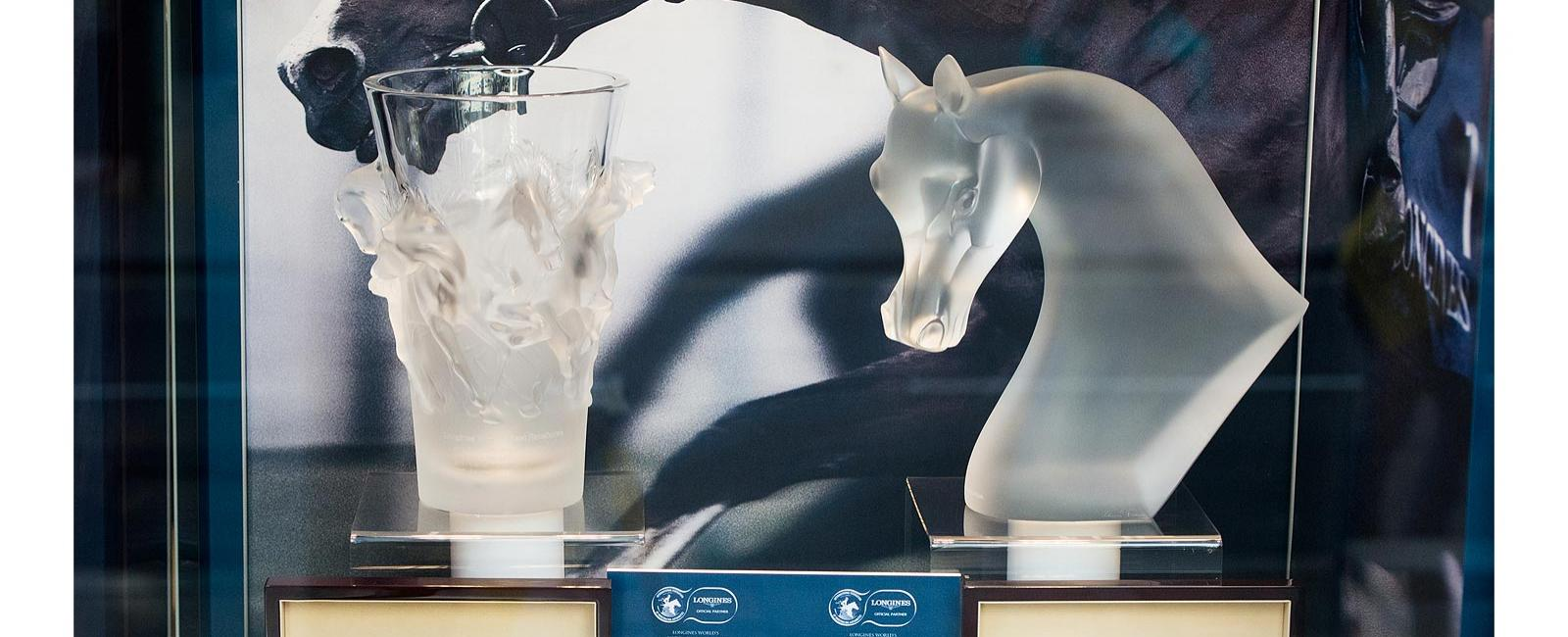 The trophies; Longines World's Best Racehorse and Longines World's Best Horse Race; London