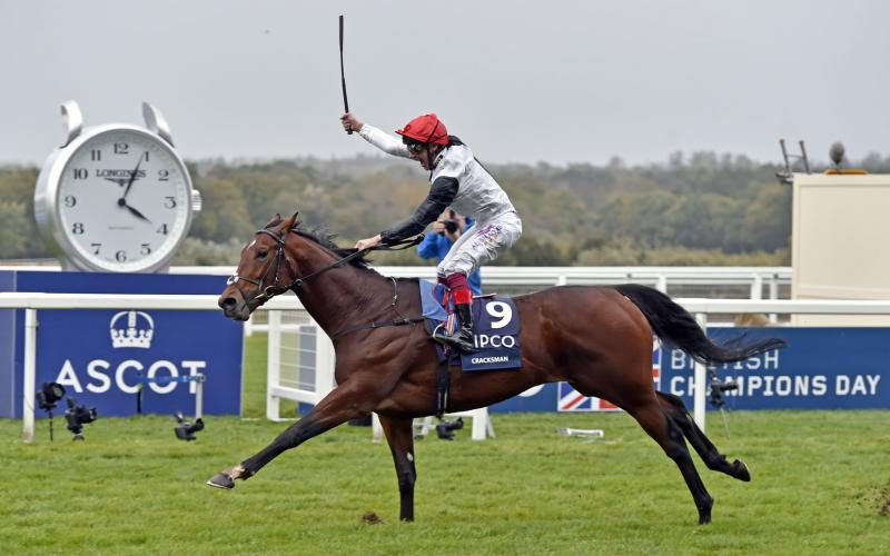 Frankie Dettori on Cracksman wins 2017 QIPCO Champion Stakes at Ascot