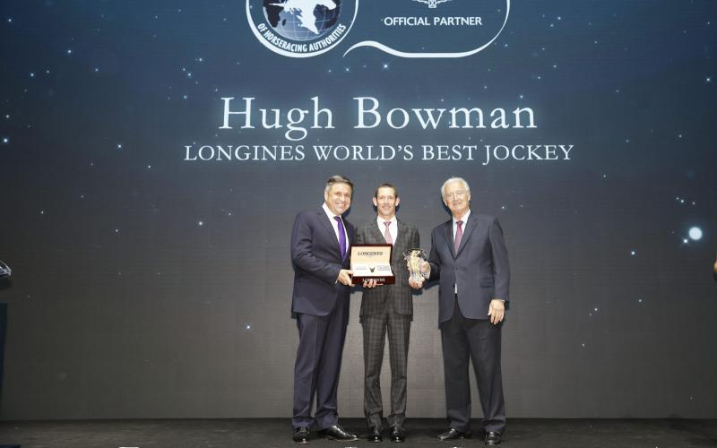 Australian Hugh Bowman receives the 2017 Longines World's Best Jockey Award in Hong Kong