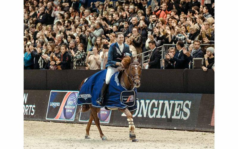 French rider Simon Delestre on Hermes Ryan claimed victory at the 4th leg of the Longines FEI World CupTM Jumping Western European League in Lyon