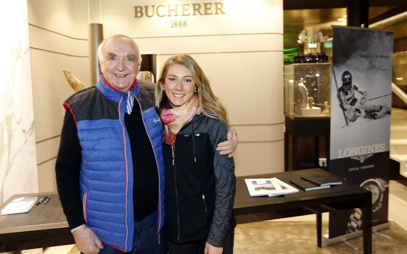 Longines welcomes its Ambassador of Elegance Mikaela Shiffrin at the Bucherer boutique in St. Moritz