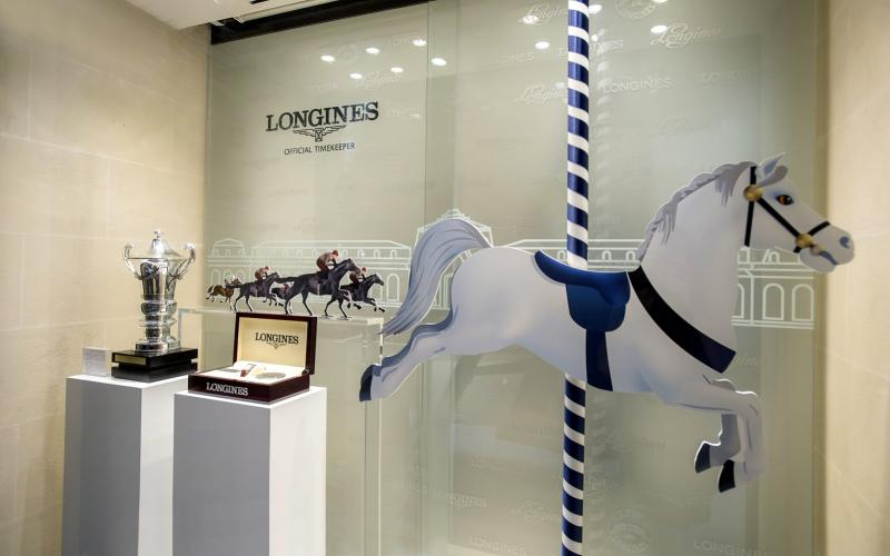 Official Watch of the Prix de Diane Longines displayed in Longines Boutique window at the rue de Sèvre in Paris