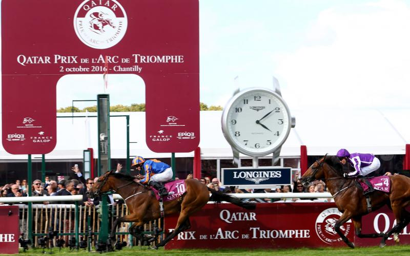 Longines timed the victory of Found and Ryan Moore at the 2016 Qatar Prix de l'Arc de Triomphe