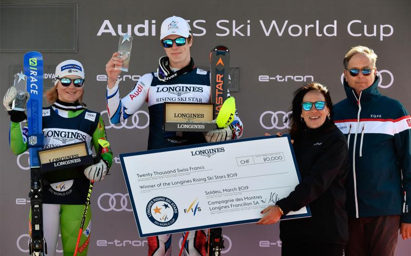 The 2019 Longines Rising Ski Stars prizes awarded to Meta Hrovat and Clément Noël