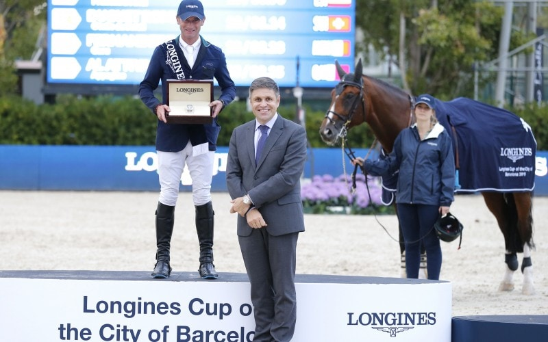 The Longines Cup of the City of Barcelona lifted by Denis Lynch at the CSIO Barcelona 2015